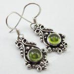 Chanti International Pure Silver <b>ANTIQUE</b> STYLE Earrings 1 Pair 3.4 CM, Authentic PERIDOT <b>Jewelry</b>
