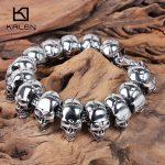 Kalen Skull Charm Men's Bracelet Stainless Steel Punk Skeleton Male Wrap Bracelet Bangle European Rock <b>Jewelry</b> <b>Accessories</b>