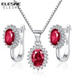 ELESHE <b>Jewelry</b> Set 925 Sterling Silver Zircon Bijoux Red Crystal Wedding <b>Accessories</b> Party Earrings Necklace For Women Gift