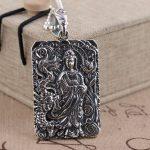 Deer king S925 silver <b>jewelry</b> wholesale <b>antique</b> style Avalokiteshvara Heart Tag Pendant male