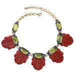 Designer Costume <b>Jewelry</b> <b>Antique</b> Gold Color Women Fashion Chokers Black Red Leaves Necklace Short Chain