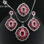 CC Set For Women Ring Necklace Pendant Drop Earrings 3pcs Bridal Wedding Engagement <b>Accessories</b> Ladies <b>Jewelry</b> CCAS177a
