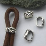20 Pcs 9.5x6mm <b>Antique</b> Silver Slider Beads Hole For Leather Cord DIY Jewery Findings