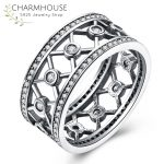Genuine Sterling Silver Rings for Women Men AAA Cubic Zirconia Ring <b>Antique</b> Silver <b>Jewelry</b> Fashion Accessories Anillos Bijoux