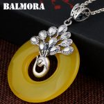 BALMORA 990 Pure Silver Peacock Pendants for Necklaces Vintage Animal <b>Jewelry</b> Women <b>Accessories</b> Gift Without a Chain MN12270