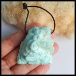 2018 Fashion Style Flower Necklace!!!Wholesale 1Pcs Natural Stone Larimar Carved Flower Side Drilled Pendant Best Gift <b>Accessory</b>