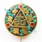 (Min. Order is $10)3pcs/lot Nepal Tibetan Type Manual <b>Antique</b> Bead, Flat Round Brass Embed Imitation Turquoises H662782 28x8mm