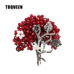 TDQUEEN Brooches Red Crystal Bead Broches Vintage Metal <b>Antique</b> Silver Plated Pin <b>Jewelry</b> Pearl Shell Bird Brooch for Women