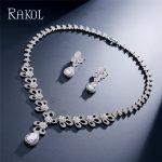 RAKOL Silver Color Water Drop Dangle Earrings Necklace For Women Ladies Girl Cubic Zirconia Wedding Dress <b>Accessories</b>