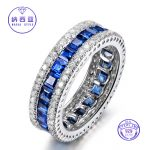 925 Sterling Silver Band Rings for Women Solitaire Blue Spinel CZ Vintage <b>Antique</b> Wedding Fine Silver <b>Jewelry</b> Valentines gift