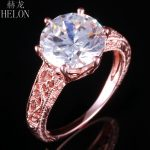HELON <b>Art</b> <b>Deco</b> <b>Jewelry</b> 10mm Round AAA Graded Cubic Zirconia Vintage Filigree 925 Sterling Silver Engagement Fine Ring Wholesale