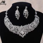 Snuoy Luxury Evening Necklace & Earrings for Women Formal <b>Jewelry</b> Set Rhinestone Wedding Necklace Fashion Bride <b>Accessories</b>