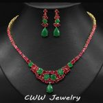 Yellow Gold Color Natural Red And Green Created Emerald Bridal Necklace Earrings <b>Jewelry</b> Sets For Wedding <b>Accessories</b> T135