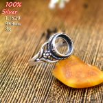 100% 925 sterling-silver-<b>jewelry</b> Adjustable Ring Blank Fit with 9MM Setting Round Stone <b>Antique</b> Silver Classical platin