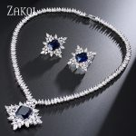 ZAKOL Classic Bridal <b>Accessories</b> Anniversary Shiny Sliver Color Big Rectangle Cubic Zircon <b>Jewelry</b> Set FSSP241