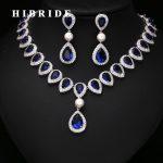 HIBRIDE Elegant Blue Crystal Dubai <b>Jewelry</b> Sets Micro Cubic Zircon Pave Necklace and Earring Set Wedding Dress <b>Accessories</b> N-224