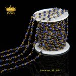 DIY <b>Antique</b> 4mm Faceted Lazuli Lapis Gemstone with Bronze Plating Wire Wrapped Beaded Chain Rosary Chain for <b>Jewelry</b> HX067