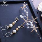 CC earrings for women hairbands sets pearl wedding <b>accessories</b> bride engagement <b>jewelry</b> handmade beads starfish shape gift XY224