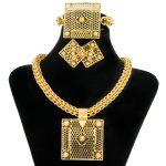 2017 CZ Fashion <b>Jewelry</b> <b>Accessories</b> Ladies Square Pendants Hollow Large Necklace Dubai Charm Bride Wedding Gold <b>Jewelry</b> Set