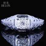 HELON Solid 10K White Gold 6mm Round Diameter Diamond Engagement Wedding Solitaire Accents Ladies Vintage <b>Antique</b> <b>Jewelry</b> Ring