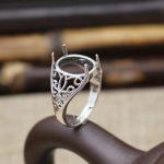 <b>Art</b> <b>Deco</b> Sterling Silver 925 Oval Cabochon 11x12mm Semi Mount Wedding Ring Engagement Fine <b>Jewelry</b> Setting Vintage