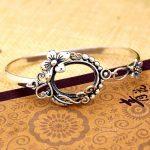 925 Sterling Silver Bracelet Semi Mount for 13x18mm Oval Cabochon Gemstone Women Fine <b>Jewelry</b> Flower Vintage <b>Art</b> <b>Deco</b> Style