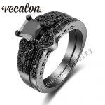 Vecalon Heart <b>Jewelry</b> Women Engagement Wedding Band Ring Set 2ct Black AAAAA Zircon Cz 10KT Gold Filled Party <b>Accessories</b>