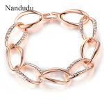 Nandudu Lady Fashion Bracelet Rose Gold Color Clear Austrian Crystal Linked Hoops Bangle <b>Jewelry</b> <b>Accessories</b> Gift B699