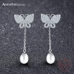 ANFASNI 100% 925 Sterling Silver Butterfly Long Stud Earrings With Clear CZ and Pearl Women <b>Wedding</b> Luxury <b>Jewelry</b> SER0132-B