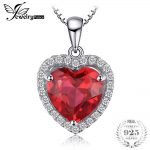 JewelryPalace Heart Of Ocean 3.9ct Red Created Ruby Love Forever Halo Pendant <b>Necklace</b> 925 Sterling <b>Silver</b> 45cm For Women