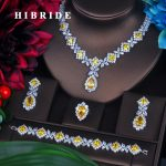 HIBRIDE Charm Yellow Cubic Zirconia <b>Jewelry</b> Sets For Women Bridal Wedding Sets 4 pcs Earring <b>Necklace</b> Ring Bracelet Gift N-391
