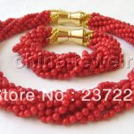 Wholesale price FREE SHIPPING ^^^^Beautiful AAA 18″ 10row 5mm natural red coral necklace & <b>bracelet</b>