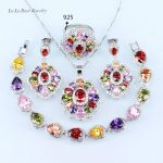 L&B Multi Rhinestone 925 logo Jewelry Sets For Women <b>silver</b> color Crystal Wedding <b>Bracelet</b>/Pendant/Necklace/Earrings/Ring