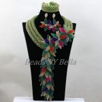 Luxury Nigerian Wedding Beads Green Crystal <b>Handmade</b> Bridal Flowers African Bridal <b>Jewelry</b> Sets Necklace Free Shipping ABK617