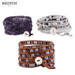 KELITCH <b>Jewelry</b> 1Pcs Good Quality Leather Wrap Bracelets Crystal Beaded Pulseras Multilayers Mujer <b>Jewelry</b> <b>Handmade</b> Bracelet