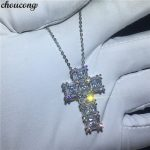 choucong <b>Handmade</b> Big Cross Pendants 5A Zircon Cz Real 925 Sterling silver Wedding Pendant with Necklace for women Party <b>jewelry</b>