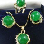Women's Wedding New <b>Jewelry</b> 10mm Green gem Earrings Ring & Necklace Pendant Set>AAA GP Bridal wide real silver <b>jewelry</b>