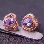 Natural amethyst stud <b>earrings</b> 925 <b>silver</b> natural crystal <b>earrings</b> for women personality fashion party fine <b>Earrings</b> jewelry