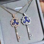 natural tanzanite pendant S925 <b>silver</b> Natural gemstone Pendant Necklace trendy romantic Clover key women wedding fine <b>jewelry</b>