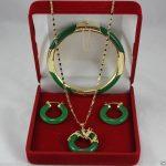 Jewelry green Natural stone necklace pendants earrings <b>bracelets</b> Set AAA style 100% Noble Fine jewe