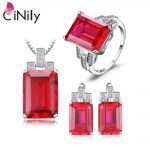 CiNily 925 <b>Sterling</b> <b>Silver</b> Created Red Ruby Emerald Sapphire for Women <b>Jewelry</b> Pendant Earrings Ring Sz 6-9 <b>Jewelry</b> Set ST001-03