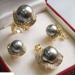 Women's Wedding shipping>>>>>>Set 10mm &14mm gray South sea Shell Pearl Earrings Necklace Ring size 7 8 9 silver-<b>jewelry</b>