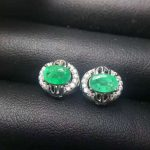 natural green emerald stud <b>earrings</b> 925 sterling <b>silver</b> natural gemstone <b>earrings</b> fashion round women's party <b>Earrings</b> jewelry