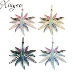 XINYAO Rose Gold Color 33.5*35mm Cubic Zirconia Starfish Charm Pendant Sea Animals For <b>Jewelry</b> Finding Necklace <b>Making</b> Accessory