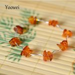 Yoowei Natural Amber <b>Bracelet</b> Irregular Cognac Beads Elastic Rope Female Models Unique <b>Silver</b> Tube Baltic Amber Jewelry Boutique