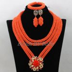 NEW Bridal Coral Beads Necklace Set Nigerian Wedding <b>Handmade</b> Costume African <b>Jewelry</b> Set Big Party Beads Free Shipping ABK540