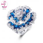 ZHE FAN Flower Cocktail Party Rings Blue Green Multi Pave AAA Cubic Zirconia Fashion Luxury <b>Wedding</b> Ring For Women <b>Jewelry</b>