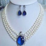 3 rows Natural white pearl blue stone pendant necklace earrings set