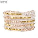 KELITCH <b>Jewelry</b> 1Pcs White Leather Chain <b>Handmade</b> Metal Beads Crystal Beaded Bracelet For Women's Fashion Accessories