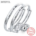 2Pcs Solid 925 Sterling <b>Silver</b> Bangles <b>Bracelet</b> Chinese Translated As Smart Lively Boys Girls Baby <b>Bracelet</b> Bangles Jewelry